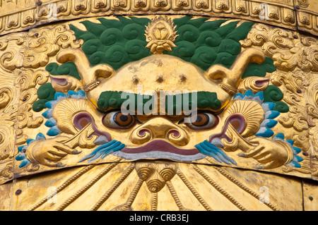 Buddhist roof ornament, Drepung Temple, Lhasa, Tibet, Asia - Stock Photo
