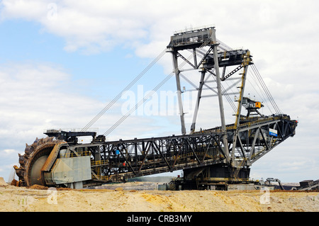 Bucket-wheel excavator in the open pit Welzow-Sued, mining of brown coal by the Vattenfall energy company, Lower - Stock Photo