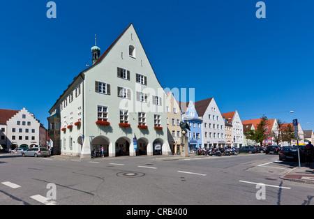 Muenzstrasse street in Schongau, Upper Bavaria, Bavaria, Germany, Europe, PublicGround - Stock Photo