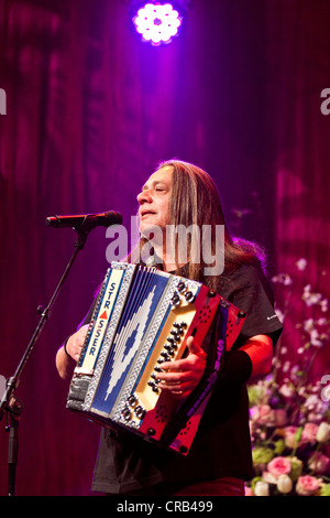 Alfred Eberharter senior of the Austrian pop and folk music group 'Schuerzenjaeger' performing live at the Schlager - Stock Photo