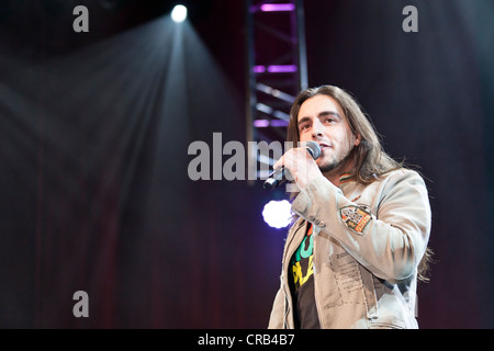 Stefan Wilhelm of the Austrian pop and folk music group 'Schuerzenjaeger' performing live at the Schlager Nacht - Stock Photo