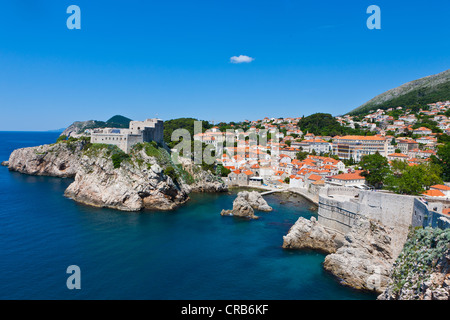 Fort Lovrijenac and the city walls of Dubrovnic, UNESCO World Heritage Site, central Dalmatia, Dalmatia, Adriatic - Stock Photo