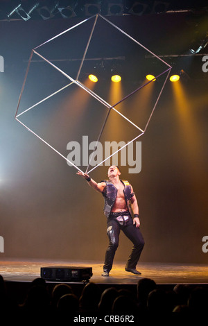 Rock songs and artistic performances by Ernest Iouvilov, live, Das Zelt - Rock Circus, Lucerne, Switzerland, Europe - Stock Photo