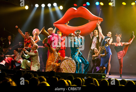 Artistic performances accompanying rock songs, live performance, Das Zelt, events venue, Rock Circus in Lucerne, - Stock Photo