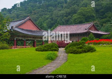 Buddhist Pohyon Temple on Mount Myohyang-san, North Korea, Asia - Stock Photo