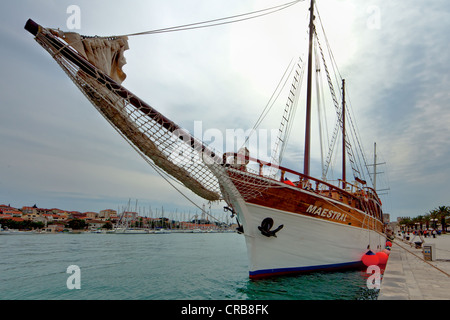 Old schooner at Riva promenade and Palazzo, historic town centre, Trogir, Split region, Central Dalmatia, Dalmatia - Stock Photo