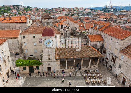 Romanesque Church of St. John the Baptist, Cathedral Square, historic town centre, UNESCO World Heritage Site, Trogir - Stock Photo