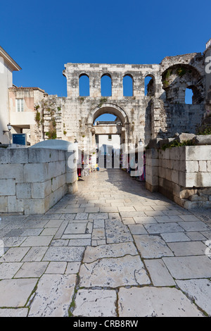 East gate, Porta Argentea, square between Peristyle and Split Cathedral, historic town centre, Split, Central Dalmatia, - Stock Photo