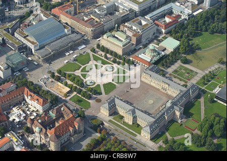Aerial view, Schlossplatz square with Neues Schloss, new castle, and Koenigsbaupassagen, Altes Schloss, old castle, - Stock Photo