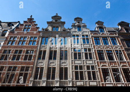 Facades of canal houses in Brussels, Belgium, Benelux, Europe - Stock Photo