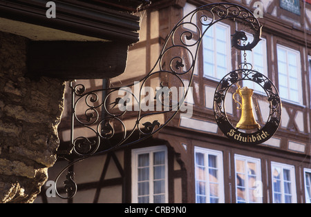 Restaurant sign on Marktplatz square, Schwaebisch Hall, Hohenlohe, Baden-Wuerttemberg, Germany, Europe - Stock Photo