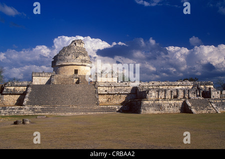 Observatory, Caracol, Mayan ruins of Chichen Itza, Yucatan, Mexico, North America - Stock Photo