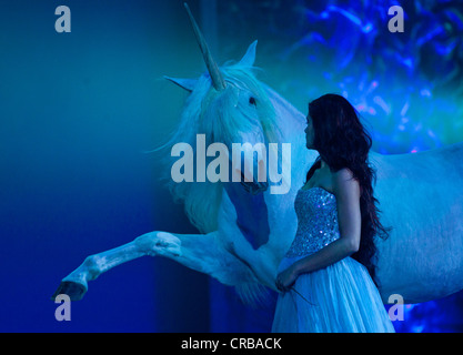 Horse as a unicorn, Magnifico, show by André Heller, world premiere on 08.02.2011, Munich, Bavaria, Germany, Europe - Stock Photo