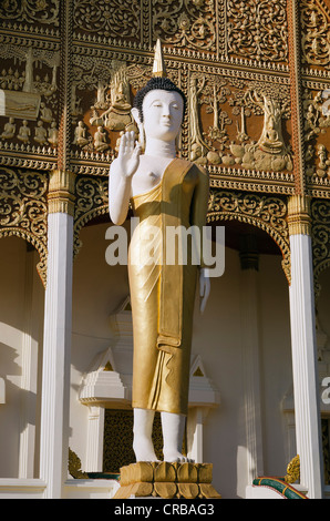 Buddha statue in front of Wat That Luang Neua temple, Vientiane, Laos, Indochina, Asia
