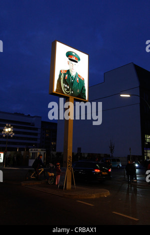 Image of a soldier, Checkpoint Charlie at night, Berlin, Germany, Europe - Stock Photo