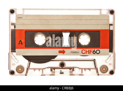 Old retro transparent audio cassette - Stock Photo