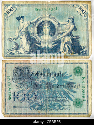 Reichsbanknote, front and rear, 100 Mark, Germany, circa 1908 - Stock Photo