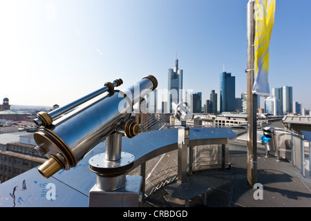 Telescope with a view over the financial district, Commerzbank Tower, European Central Bank, Deutsche Bank, Hessische - Stock Photo