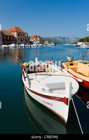 Fishing boats in the harbour of the town of Stari Grad, island of Hvar, Dalmatia, Croatia, Europe - Stock Photo