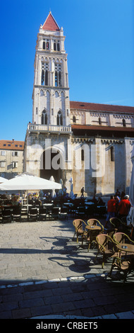Cathedral of St. Lawrence, cathedral square, old town, UNESCO World Heritage Site, Trogir, Dalmatia, Croatia, Europe - Stock Photo