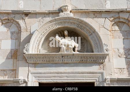 Pieta above the portal of the Church of Saint Mary the Great, Rab, Rab island, Kvarner Gulf, Croatia, Europe - Stock Photo