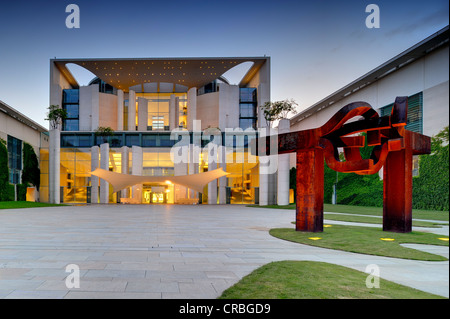 Bundeskanzleramt Federal Chancellery at dusk, Government District, Tiergarten district, Berlin, Germany, Europe - Stock Photo