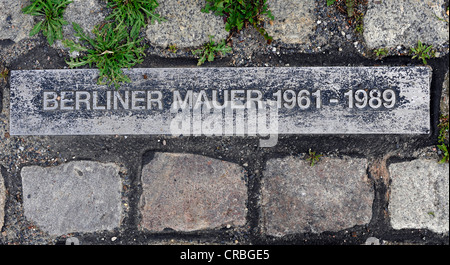 Ground marking, plaque over the course of the Berlin Wall, Berlin, Germany, Europe - Stock Photo