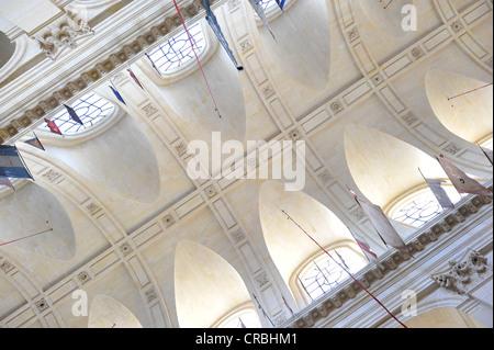Interior view, ceiling, Saint-Louis des Invalides Church, L'Hôtel national des Invalides building complex, a retirement - Stock Photo