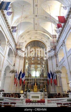 Interior view of the choir, altar, Saint-Louis des Invalides Church, L'Hôtel national des Invalides building complex, - Stock Photo