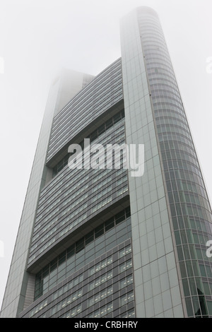Commerzbank Tower in the fog, Frankfurt am Main, Hesse, Germany, Europe - Stock Photo