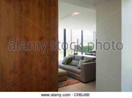 View of living room through doorway - Stock Photo