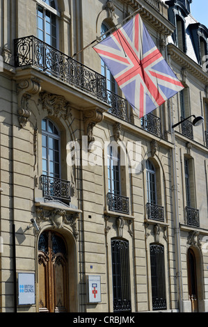 British Flag, British Council and University of London, Paris, France, Europe - Stock Photo