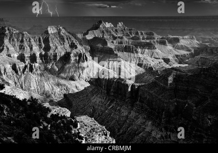 Thunderstorm, lightning, view from Bright Angel Point to Deva Temple, Brahma Temple, Zoroaster Temple, Transept - Stock Photo