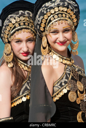 Women in Traditional Moors Costume at the Moors and Christians Fiesta in Mojacar, Almeria, Andalusia, Spain - Stock Photo
