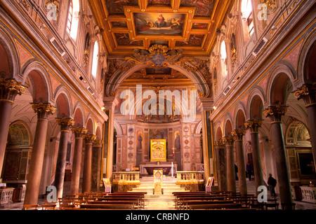 Interior of the Basilica of San Bartolomeo all'Isola on Tiber Island, Rome, Italy, Europe - Stock Photo