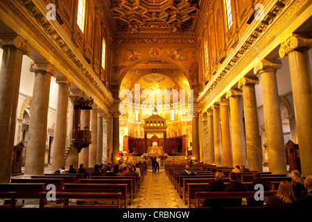 Interior of the Church of Santa Maria in Trastevere in Rome, Italy, Europe - Stock Photo