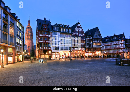 Roemerberg square in the evening, in the back the Kaiserdom St. Bartholomaeus cathedral, Roemerberg square, Frankfurt, - Stock Photo