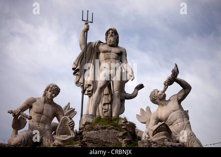 Fontana del Nettuno, Neptune fountain on Piazza del Popolo square in Rome, Italy, Europe - Stock Photo