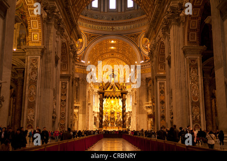 Papal altar with canopy, interior, St. Peter's Basilica, Vatican City, Rome, Lazio, Italy, Europe - Stock Photo