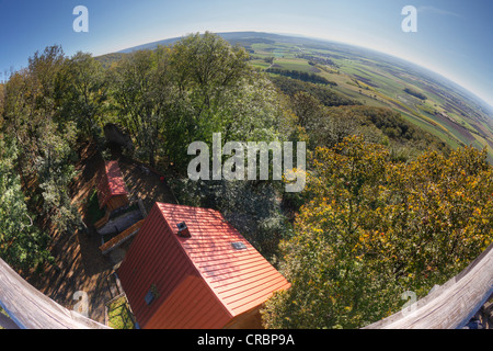 View from the lookout tower of Zabelstein Castle, Schweinfurter Land, Lower Franconia, Franconia, Bavaria, PublicGround - Stock Photo
