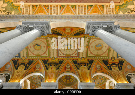 Marble columns, marble arch, frescoes, mosaics in the magnificent entrance hall, The Great Hall, The Jefferson Building - Stock Photo