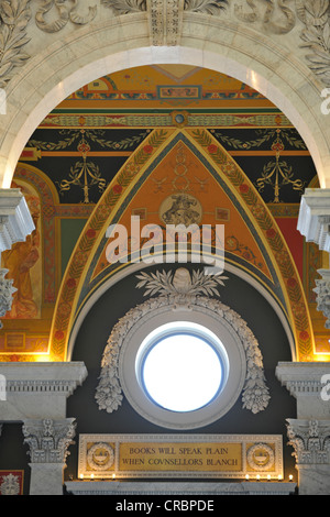 Marble columns, marble arches, frescoes, mosaics in the magnificent entrance hall, The Great Hall, The Jefferson - Stock Photo