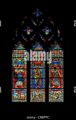 Moses window by Lawrence Saint, stained glass window, Washington National Cathedral or Cathedral Church of Saint - Stock Photo