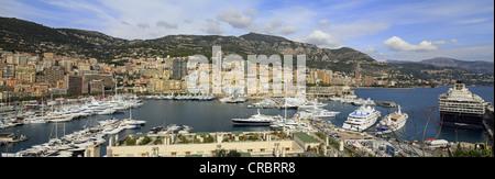 Panoramic view, Port Hercule and Monte Carlo, Monaco, Cote d'Azur, Mediterranean, Europe - Stock Photo