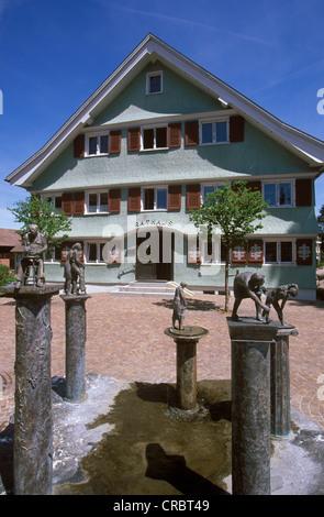 Kneipp fountain in front of the City Hall, Scheidegg, West Allgaeu, Allgaeu, Swabia, Bavaria, Germany, Europe, PublicGround - Stock Photo