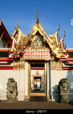Looking through several gates of the Buddhist Wat Pho temple, Bangkok, Thailand, Asia - Stock Photo