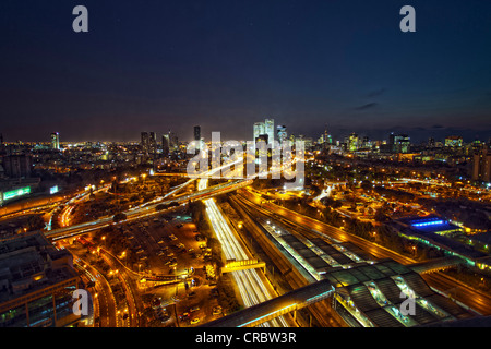 Aerial view of Tel Aviv lit up at night - Stock Photo