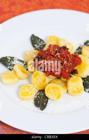 Bolognese sauce over gnocchi - Stock Photo