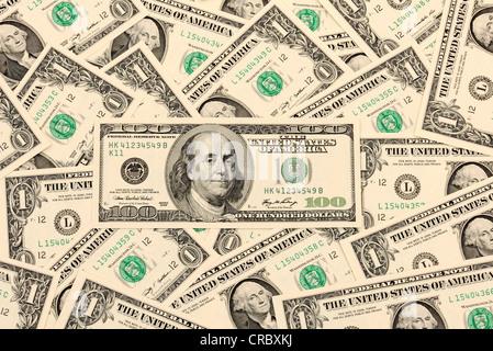 100 US dollar bills - Stock Photo