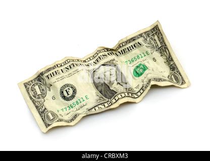 Wrinkled 1 US dollar bill - Stock Photo